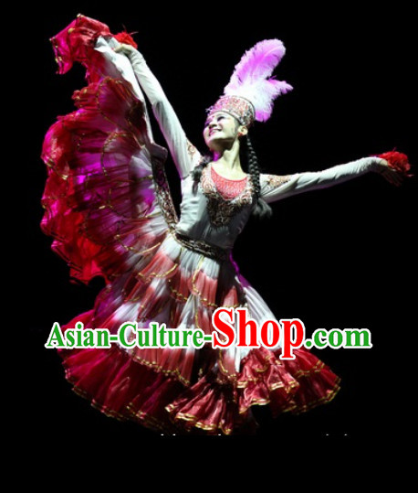 Professional Xin Jiang Ethnic Beauty Dancing Costumes and Hat