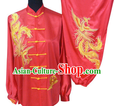 Beijing Sport University Red Phoenix Embroidery Tai Chi Suit