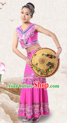Traditional Chinese Dai Ethnic Dancing Costumes for Women