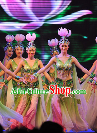 Chinese Lotus Dance Costume and Headpiece for Women