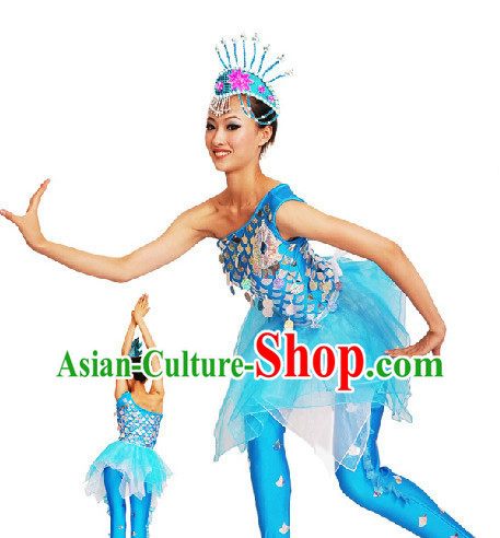 Traditional Chinese Dai Minority Fish Dancing Costumes Complete Set