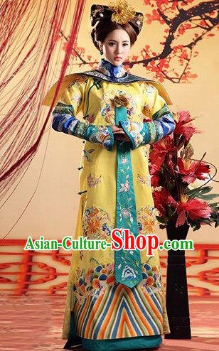 Qing Dynasty Royal Princess Clothing and Hair Accessories Complete Set