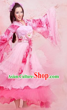 Peach Color Wide Sleeves Hanfu Dancing Costumes