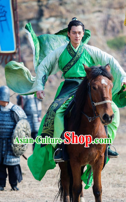 Lanling Queen China TV Drama Green Han Fu Guzhuang Clothes for Men