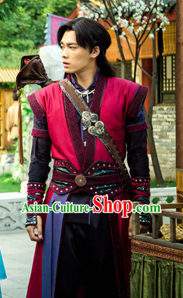 Gu Jian Qi Tan Lengend of the Ancient Sword TV Drama Male Lead Costumes Complete Set