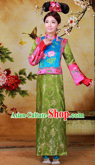 Top Chinese Style Qing Dynasty Gege Princess Halloween Costumes and Hat