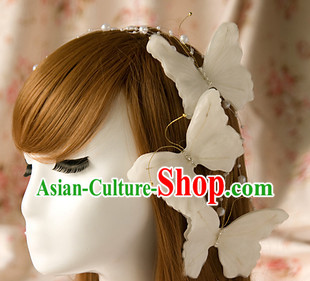 White Butterfly Wedding Hairstyles & Hair Accessories