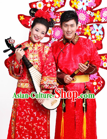 Top Red Chinese Wedding Dresses 2 Sets for Men and Women