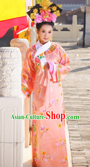 Bu Bu Jing Xin Ruo Xi Empress Embroidered Long Robe and Headdress Complete Set