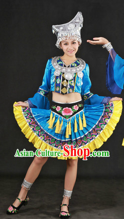 Blue China Miao People Ethnic Dresses and Hat Complete Set
