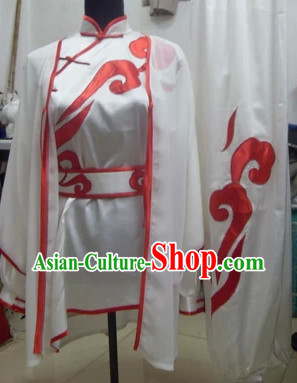 Professional White Embroidery Kung Fu Tai Chi Silk Dresses