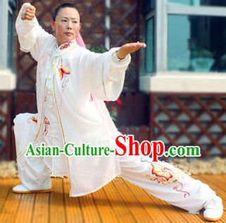 Traditional White Butterfly Embroidery Kung Fu Suit and Cape Complete Set