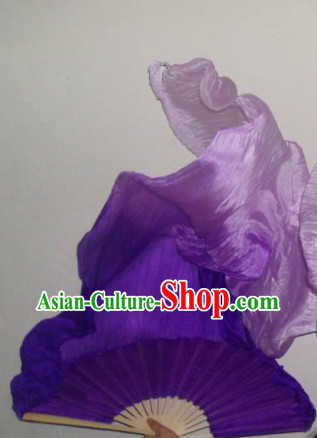 71 Inches Long Color Transition Silk Ribbon Fan