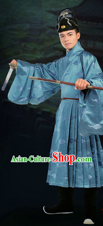 Ancient Chinese Swordman Gowns and Hat Complete Set