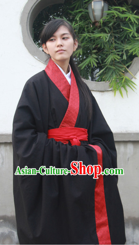 Ancient Chinese Black and Red Zhiju Everyday Wear Clothes