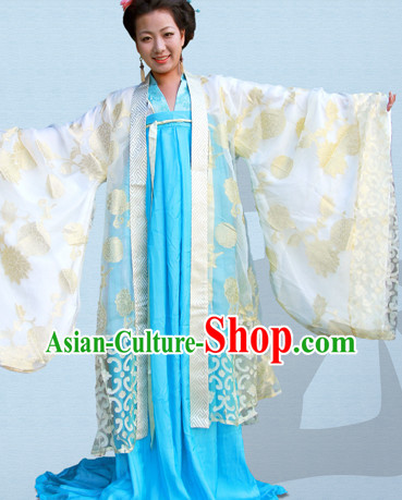 Tang Dynasty Hanfu Da Xiu Shan Ceremonial Clothes and Hair Accessories Complete Set for Women
