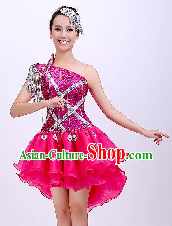 Chinese Dance Outfits Girls Short Skirt Dancewear and Headwear