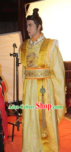 Chinese Tang Imperial Emperor Costumes and Crown Complete Set
