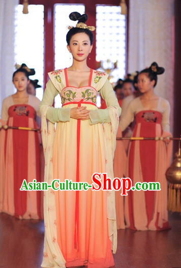 Traditional Chinese Princess Dress and Hair Decorations Complete Set Free Shipping