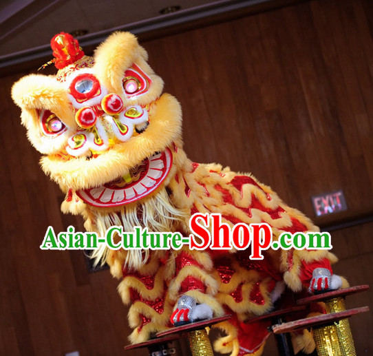 LED Lights Eyes Chinese New Year Red Gold Hok San Lion Dance Equipment Complete Set