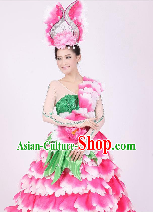 Chinese Floral Dance Costumes and Headwear Complete Set