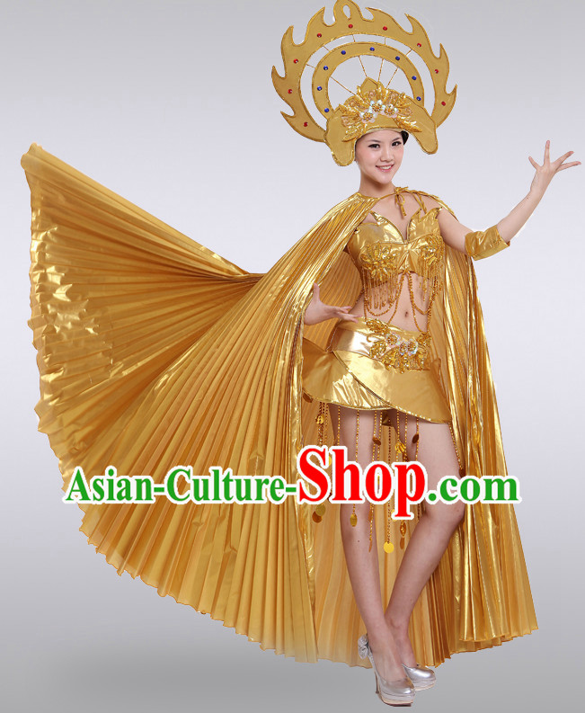 Gold Thailand Dance Costumes and Hat for Women