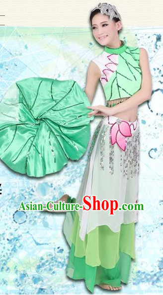 Green Lotus Folk Dance Girls Dancewear