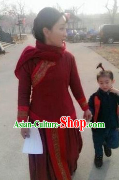 Chinese Red Sorghum Folk Dress Suit for Women