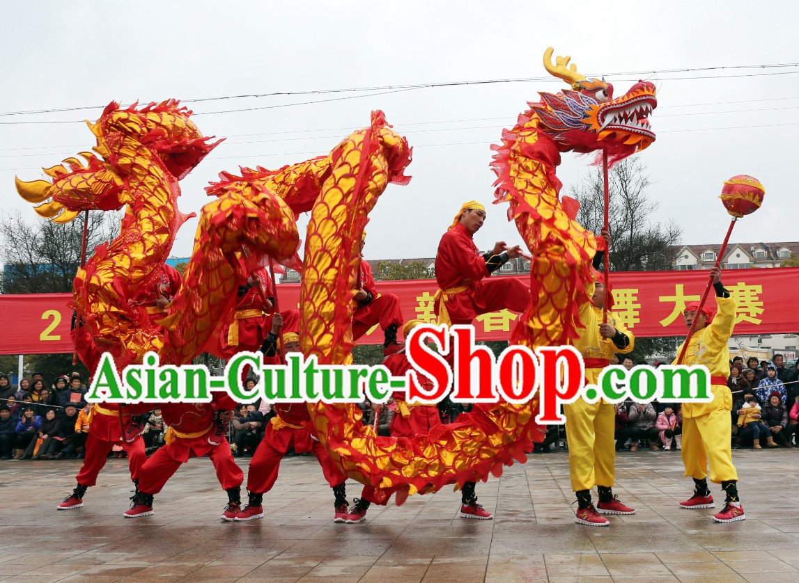 NEW 18 Meters Ten Adults Competition and Parade Red Gold Dragon Dance Costume Complete Set