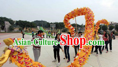 16 Meters China Yellow Red Dragon Dance Equipments for 10 Teenagers
