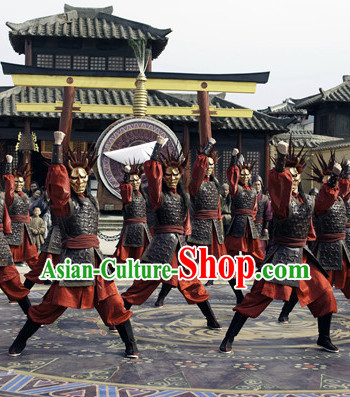 Ancient Chinese Solider Armor Costumes and Crown Complete Set
