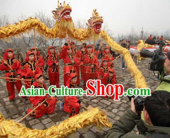 Parade and Competition Shinning Gold Dragon Dance National Costumes Complete Set for Eight Kids
