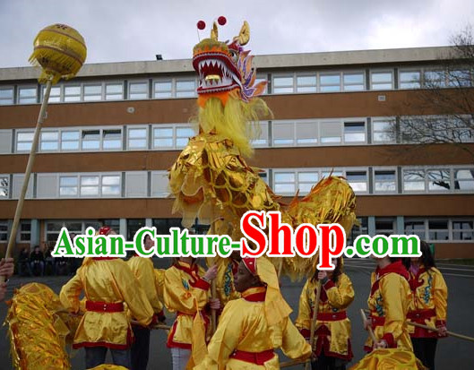 High School Parade and Competition Shinning Gold Dragon Dance Costumes Complete Set