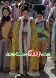 Yellow Chinese Qing Dynasty Princess Winter Mantle Cape