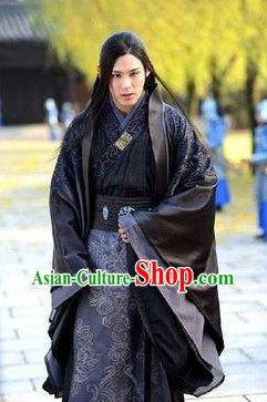 Chinese Beautiful Man Black Hanfu Clothes Complete Set