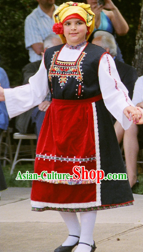 Traditional Greek Women Dresses and Hat Complete Set