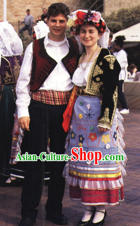 Traditional Greek Clothing Two Complete Sets for Men and Women