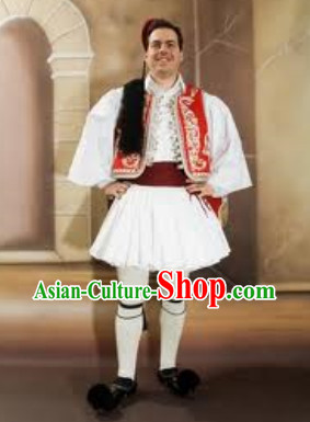 Traditional Greek Men Costume and Hat Complete Set