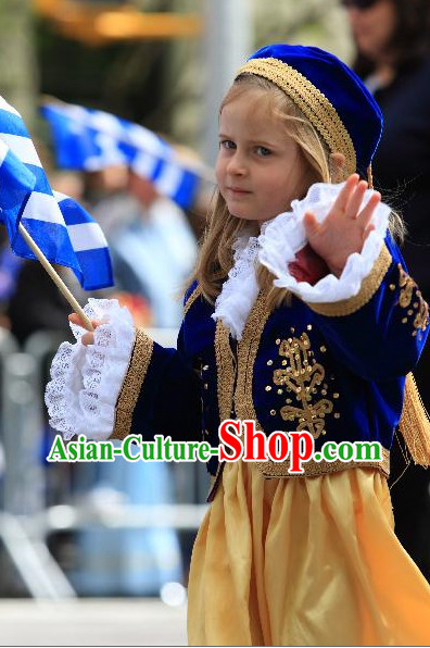 Little Girls Greek Dress Complete Set
