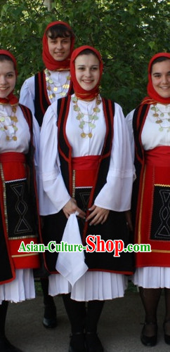 Girls Greek Dance Costume Complete Set