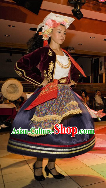 Woman Greek Dance Costume Complete Set