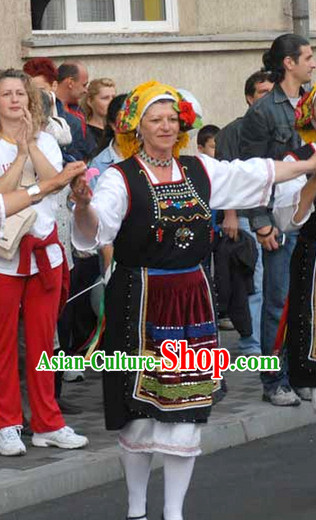 Female Folk Greek Dance Costumes Complete Set