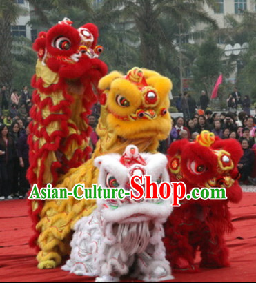 NEW 100 Percent Natural Wool Lion Dance Costumes Equipments Complete Set