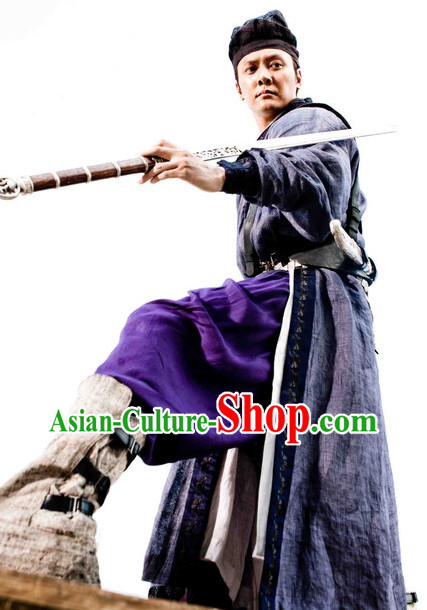 Chinese Ancient Swordman Costume and Hat Complete Set
