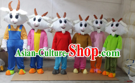 Chinese New Year Happy Sheep Goat Mascot Costumes Full Set