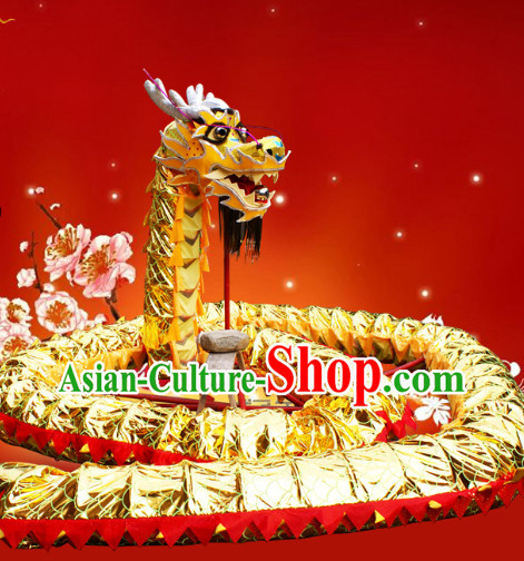 Chinese Spring Festival Gold Dragon Dance Equipments Complete Set