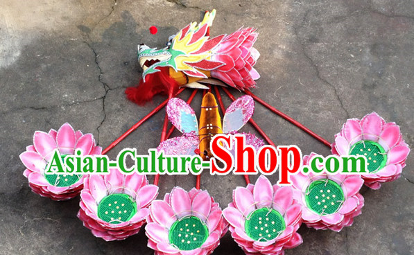 Asian Handmade Lotus Flower Dragon Dance Equipments Complete Set