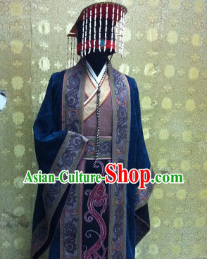 China Ancient Emperor Qin Shi Huang Costumes and Hat