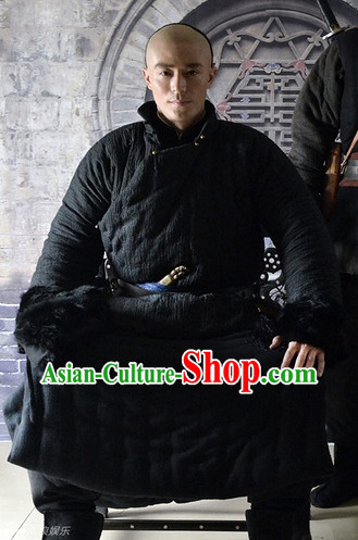 Chinese Traditional Long Black Mandarin Collar Robe Clothing for Men
