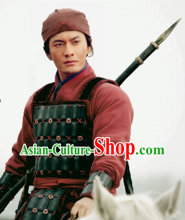 Chinese Knight Errants Armor Helmet Costumes Complete Set for Men